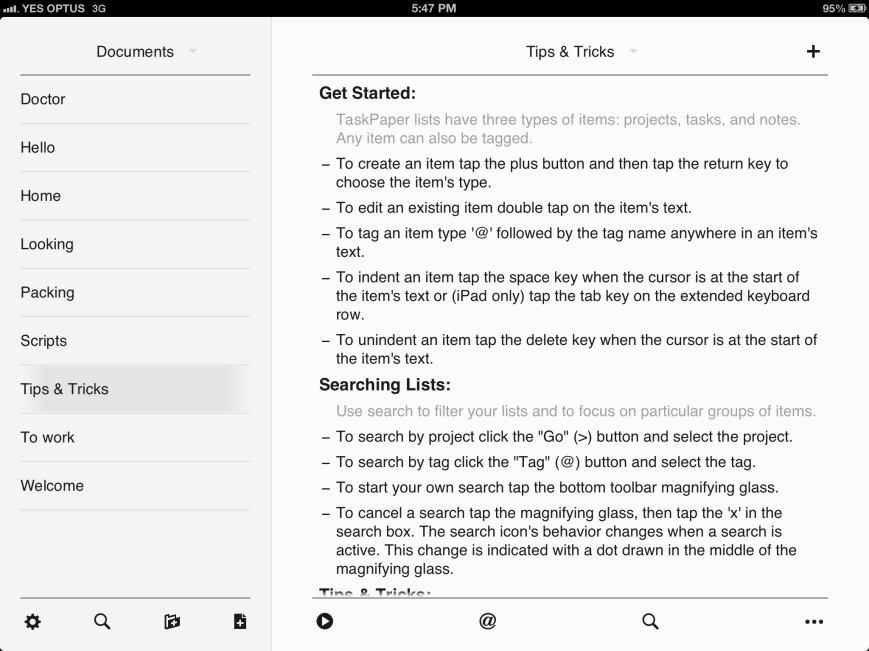 TaskPaper on the iPad